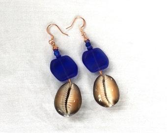 Beach Statement Earrings, Sea Shell Earrings, Beach Earrings, Navy Blue Earrings, Sea Glass Earrings for Mermaids