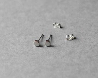 Silver Hexagon Stud Earring -Sterling Silver