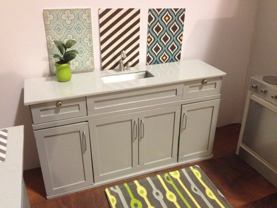Https Www Etsy Com Listing 174360521 16 Scale Kitchen With Sink Drawers And