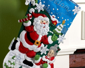 "Bucilla Skating Clauses ~ 18"" Felt Christmas Stocking Kit #86258 Santa Mrs Claus DIY"