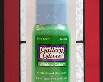 Plaid Gallery Glass Paint 16008 - 2 oz. Kelly Green ~ Create Stained Glass Look