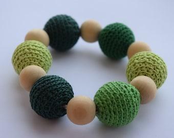 Crochet baby toy with wooden beads crochet handmade green