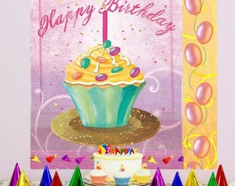 Cupcake Happy Birthday Party Wall Decal - #65158
