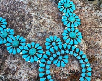 Squash Blossom Necklace Turquoise Squash Blossom Faux Blossom Necklace Southwestern Necklace Country Zuni Western Chunky Boho Rodeo Cowgirl