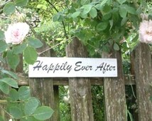 Vintage style wooden painted HAPPILY EVER AFTER sign for wedding or home
