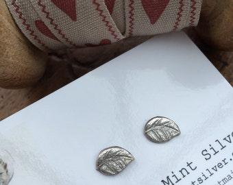 Fine Silver Hand Cast Leaf Earrings