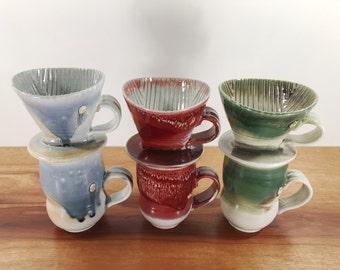 pour over coffee cone and mug set