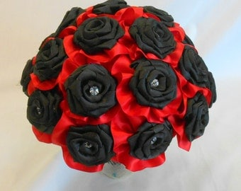 Red and Black Bridal Bouquet, Black and Red Wedding Bouquet, Bridesmaid Bouquet, Red Bouquet, Black Bouquet, Keepsake Bouquet,