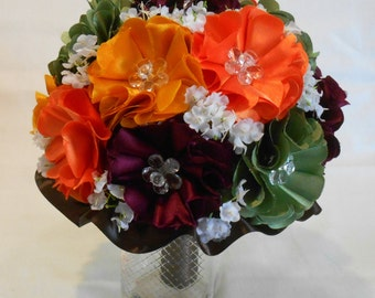 Wedding Bouquet, Bridal Bouquet, Fabric Bouquet, Bridesmaid Bouquet, Keepsake Bouquet, Fall Bouquet, Orange, Yellow, Green Burgundy Bouquet