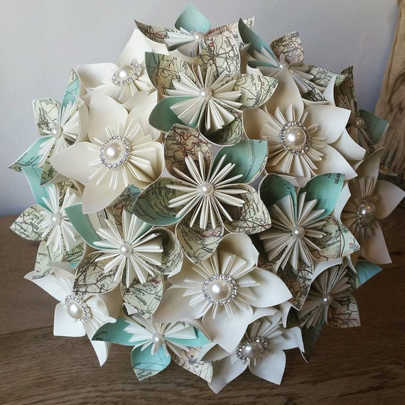 Origami Wedding Flowers: Items Similar To Vintage Map Travel Theme Wedding Paper