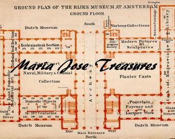 Vintage Amsterdam floor plans for the Amsterdam's Rijksmuseum - Digital Download