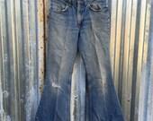 Killer 1970s Super Distressed Lived In ORANGE TAB Levis Bell Bottom Jeans 27x28