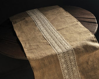 50cm - 2.5m Jute Runner with Cotton lace
