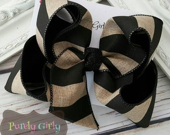 Black and Tan Hairbow Khaki Bow Linen Hairbow Black Stripe  Bow Fall Bow Large Exlarge