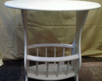 Small occasional/side table with magazine rack below, hand painted in white