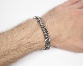 Half Persian 3 in 1 Bracelet, Chainmaille Bracelet, Stainless Steel, Chainmail Bracelet, Maille, Chain Mail, Mens Bracelet, Mens Jewelry