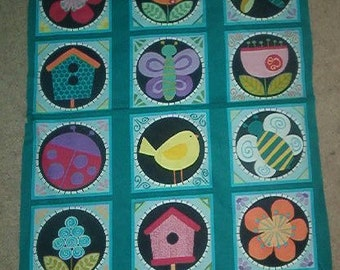 ANDOVER cotton fabric-BIRDHOUSE PANEL-bird, flower, insect-1 panel