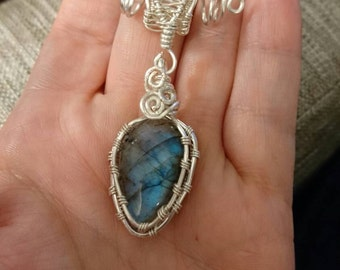 Stunning Wire Wrapped Labradorite Pendant!! Blue Fire!!!