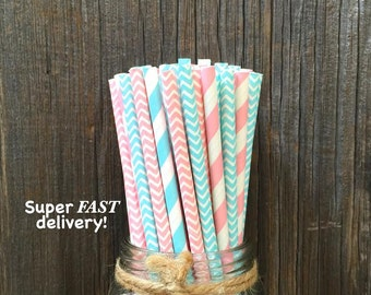 100 Light Blue, Pink and White Stripe and Chevron Paper Straws- Baby Shower Supply, Party Goods, Birthday Party Decoration, Cake Pop Sticks
