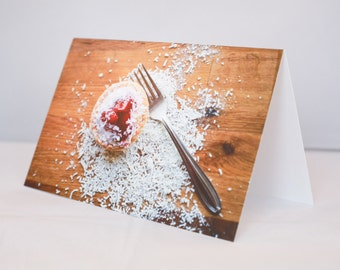 Greeting Card - Art Cards, Food, Dessert, Strawberry, Tart