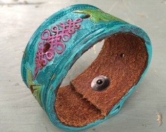 Bohemian Leather Cuff, Upcycled Leather, Hippie Bracelet, Gifts for Her, Turquoise Cuff, Boho Style, OOAK Cuff