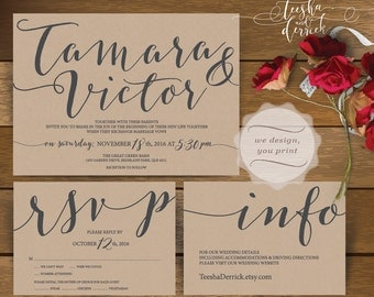 Printable Wedding Invitation Suite (w0425), consists of invitation card, RSVP and info card designs in hand lettered typography theme