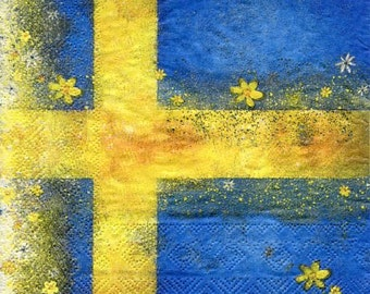 Swedish Sweden Flag &  Flowers Luncheon Napkins - Two packages of 20