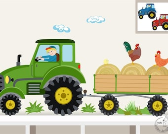 "Wall Decal ""Tractor trailer MAXI"" nursery Baby Room Wall Stickers Wall Decals farmer farm"