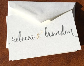 Wedding thank you notes, handmade wedding stationery, Calligraphy bride and groom names, wedding thank you cards thank you notes wedding