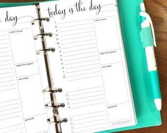 On Top of It Printed Personal Day On One Page Daily Planner Inserts, Daily Schedule Planner Pages, Daily Agenda Inserts, Hourly Planner