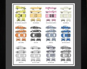 Cadillac Auto Collection Drawing Art Car Eldorado Escalade Catera ATS BLS Gift ACADI1616