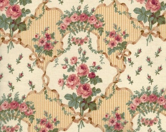 RJR Fabrics Marseille 2671 01 Rose on Beige Yardage by Robyn Pandolph