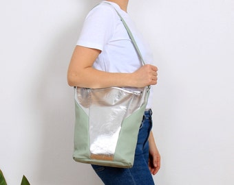 Mint Leather Bag, silver Hand Bag, JOSI BAG mint-silver