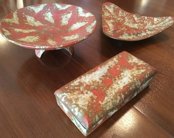 Mid-Century Three Piece Ceramic Coffee Table Set