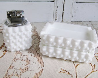 Vintage Fenton Hobnail Milkglass Milk Glass 3 Piece Table Lighter Ashtray Set Mid Century Lighter Set Vintage Tobacciana