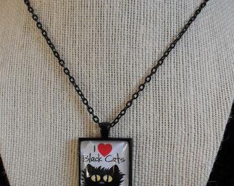 I Love Black Cats - Black Square
