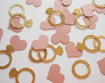 Bridal Shower Ring & Heart Confetti, Dusty Rose, Engagement Party Decoration, Wedding Confetti , Bachelorette, Glitter Gold Silver, 60 Ct.