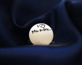 I Love You More Locket Plate - Floating Locket Plate -  Memory Locket Plate