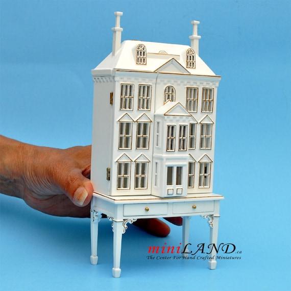 Viktorianisches Puppenhaus Holz ~ Viktorianisches Puppenhaus für Puppenhaus mit Tisch weiß Gold 1 144