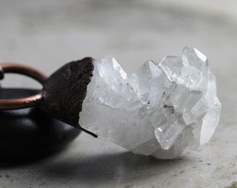 Crystal Necklace - Raw Apophyllite Crystal - Electroformed Crystal Cluster - Collector Stone - Huge Stone