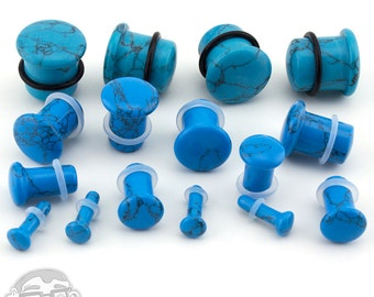 "Turquoise Stone Plugs - Single Flare (8G - 5/8"") Sold In Pairs - New!"