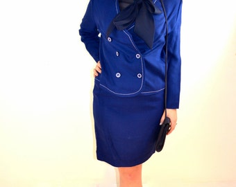 Vintage 1980's Blue Skirt Suit