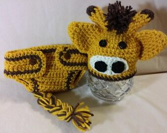 PDF Digital Pattern, Adorable Crochet Giraffe Hat & Diaper Cover Set, sizes newborn - 12 months, photo prop, baby shower gift, Pattern Only