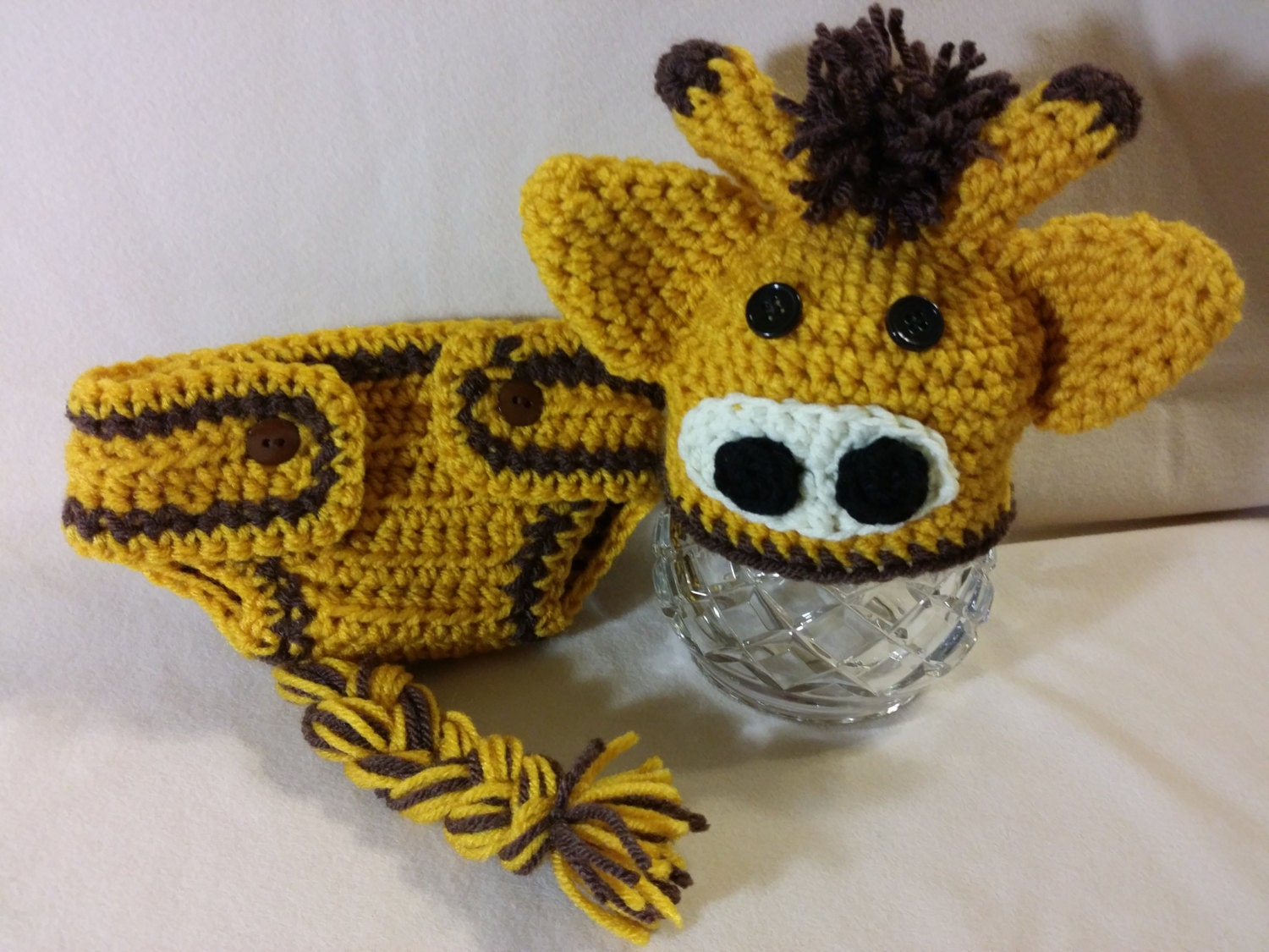 Crochet Hat Pattern Baby Giraffe Beanie Hat : PDF Digital Pattern, Adorable Crochet Giraffe Hat & Diaper ...