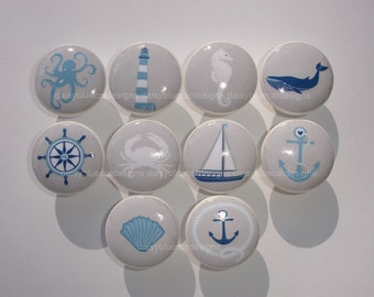 Set of 10 Nautical Sailboat Octopus Lighthouse Dresser Drawer Knobs