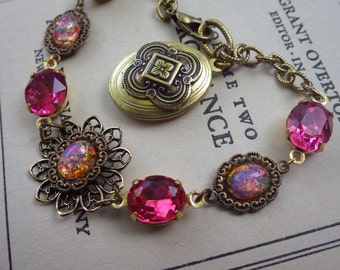 Raspberry Pink ~ Vintage Style ~ Bracelet ~ Pink Opal ~ Vintage Glass ~ Celtic ~ Medieval ~ by LadyofTheLakeJewels