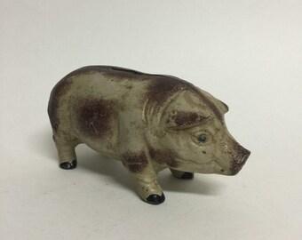 Antique Vintage Cast Iron Piggy Bank, Small Metal Pig Bank