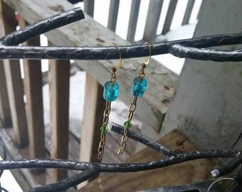 Handmade recycled chain drop earrings