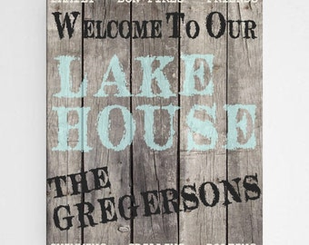 Personalized Cabin Decor - Personalized Lake House Decor - Gifts For Him - Gifts for Dad - Canvas Art - Housewarming Gift - CA034