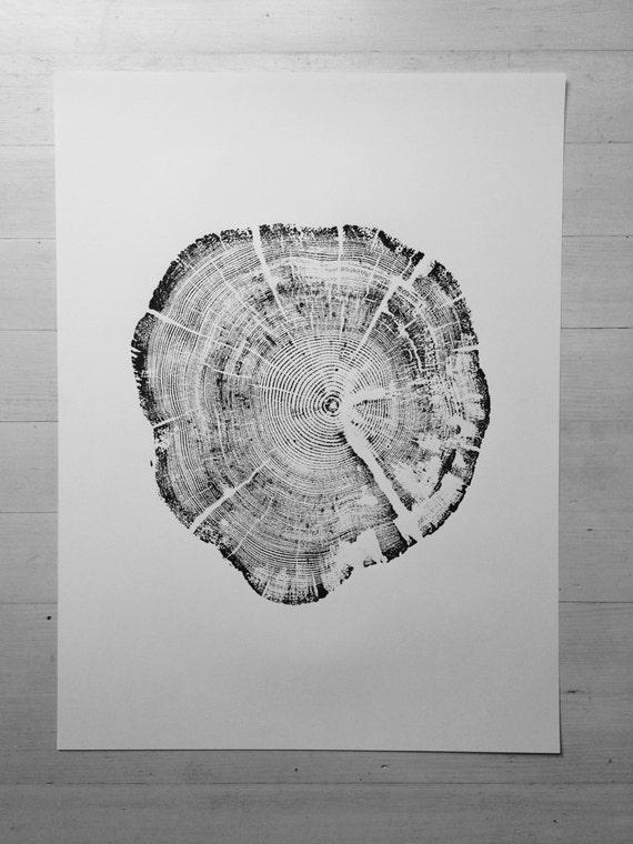 Glacier National Park, Real tree stump art, Woodcut print, Tree ring art print, Christmas Tree art, Arborist gifts, Art gifts, art decor